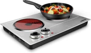 CUSIMAX 1800W Ceramic Electric Hot Plate for Cooking, Dual Control Infrared Cooktop